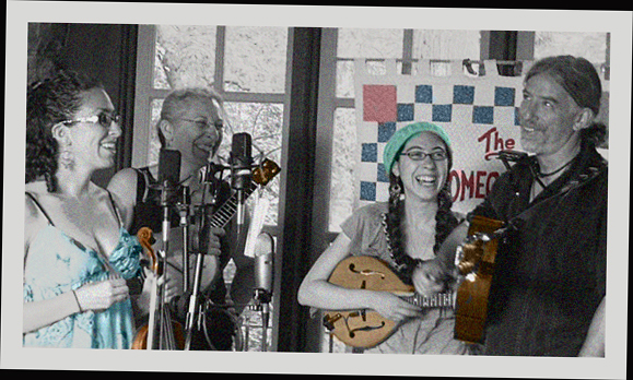 The HomegrownString Band, a happy family